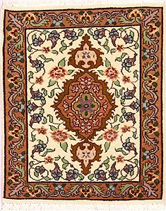 Persian Tabriz Beige Square 4 ft and Smaller Wool Carpet 12372