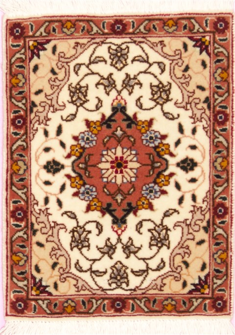 Persian Tabriz Beige Square 4 ft and Smaller Wool Carpet ...