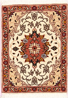Persian Tabriz Beige Square 4 ft and Smaller Wool Carpet 12373