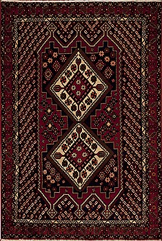 Persian Shahre babak Red Rectangle 5x7 ft Wool Carpet 12393