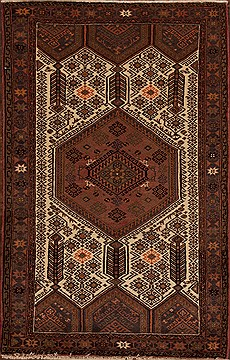 Persian Hamedan White Rectangle 5x7 ft Wool Carpet 12400