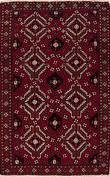 Persian Baluch Red Rectangle 5x7 ft Wool Carpet 12425