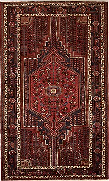 Persian Hamedan Red Rectangle 5x8 ft Wool Carpet 12444