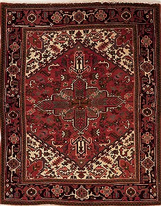 Persian Hamedan Red Rectangle 5x7 ft Wool Carpet 12449