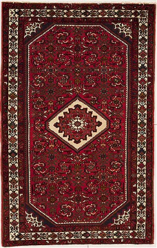Persian Hossein Abad Red Rectangle 5x7 ft Wool Carpet 12462