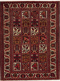 Persian Hamedan Red Rectangle 5x7 ft Wool Carpet 12463