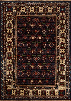 Persian Yalameh Blue Rectangle 7x10 ft Wool Carpet 12497