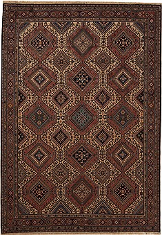 "Yalameh Red Hand Knotted 6'8"" X 9'7""  Area Rug 251-12503"