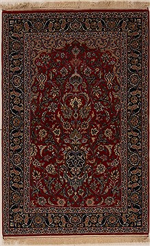 Persian Isfahan Red Rectangle 4x6 ft Wool Carpet 12536