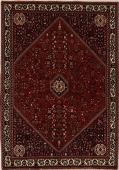Persian Abadeh Red Rectangle 6x9 ft Wool Carpet 12543
