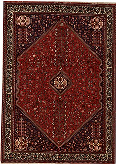 Persian Abadeh Red Rectangle 6x9 ft Wool Carpet 12545