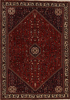 Persian Abadeh Red Rectangle 6x9 ft Wool Carpet 12546