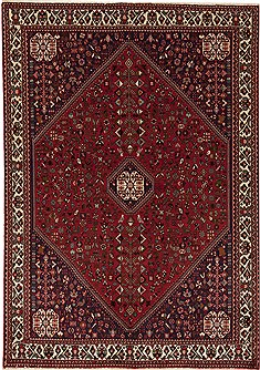 Persian Abadeh Red Rectangle 6x9 ft Wool Carpet 12547