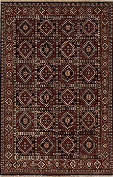 Persian Yalameh Red Rectangle 5x8 ft Wool Carpet 12552