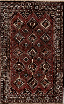 Persian Yalameh Red Rectangle 5x8 ft Wool Carpet 12561