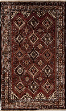 Persian Yalameh Red Rectangle 5x8 ft Wool Carpet 12564