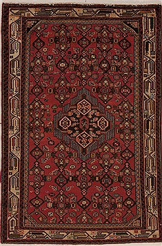 Persian Hamedan Red Rectangle 3x5 ft Wool Carpet 12568
