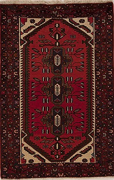 Persian Hamedan Red Rectangle 3x5 ft Wool Carpet 12569