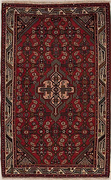 Persian Hamedan Red Rectangle 3x5 ft Wool Carpet 12571