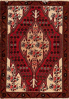 Persian Hossein Abad Red Rectangle 3x5 ft Wool Carpet 12573