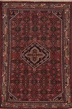 Persian Hamedan Red Rectangle 3x5 ft Wool Carpet 12589