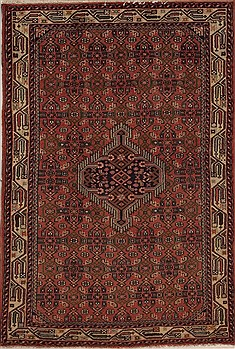 Persian Hamedan Purple Rectangle 3x5 ft Wool Carpet 12593