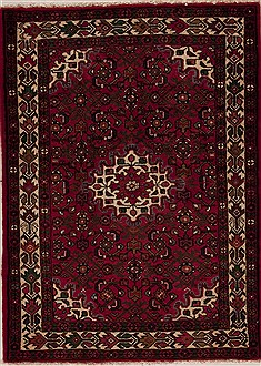 Persian Hossein Abad Red Rectangle 3x5 ft Wool Carpet 12603