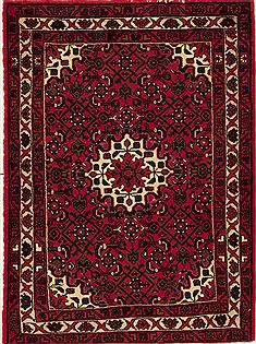Persian Hossein Abad Red Rectangle 3x4 ft Wool Carpet 12608