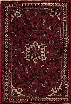Persian Hossein Abad Red Rectangle 3x5 ft Wool Carpet 12609