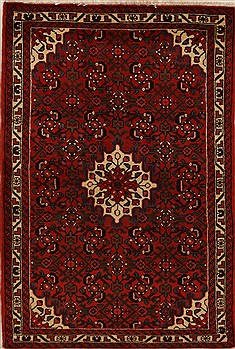 Persian Hossein Abad Red Rectangle 3x5 ft Wool Carpet 12619