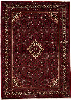Persian Hossein Abad Red Rectangle 3x5 ft Wool Carpet 12623