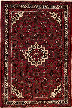 Persian Hossein Abad Red Rectangle 3x5 ft Wool Carpet 12627
