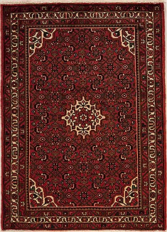 Persian Hossein Abad Red Rectangle 3x5 ft Wool Carpet 12630
