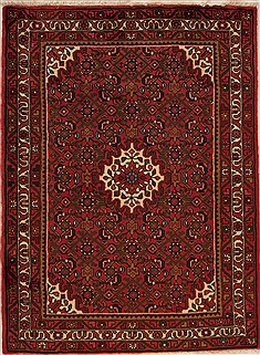 "Persian Hossein Abad  Wool Red Area Rug  (3'4"" x 4'10"") - 251 - 12631"