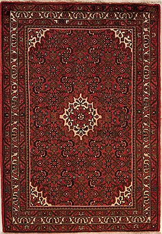 Persian Hossein Abad Red Rectangle 3x5 ft Wool Carpet 12632