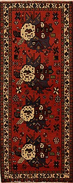 Persian Afshar Red Runner 6 to 9 ft Wool Carpet 12731