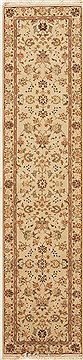 Chinese Tabriz White Runner 10 to 12 ft Wool Carpet 12740