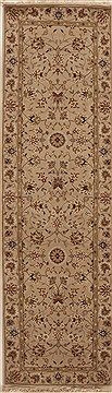 Chinese Tabriz White Runner 6 to 9 ft Wool Carpet 12741