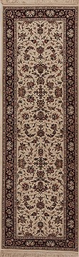 Chinese Tabriz White Runner 6 to 9 ft Wool Carpet 12745