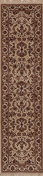 Chinese Tabriz White Runner 10 to 12 ft Wool Carpet 12748