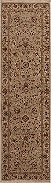 Chinese Tabriz White Runner 6 to 9 ft Wool Carpet 12755