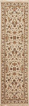 Chinese Tabriz White Runner 6 to 9 ft Wool Carpet 12756