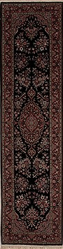 "Tabriz Black Runner Hand Knotted 2'6"" X 10'0""  Area Rug 251-12757"