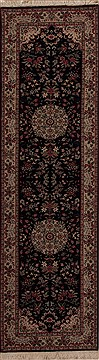 "Tabriz Blue Runner Hand Knotted 2'7"" X 9'1""  Area Rug 251-12759"