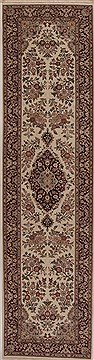 Chinese Tabriz White Runner 10 to 12 ft Wool Carpet 12763