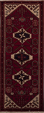 Persian Shiraz Red Runner 6 to 9 ft Wool Carpet 12772