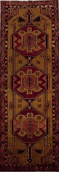 "Persian Hamedan Wool Yellow Runner Area Rug  (3'7"" x 10'11"") - 251-12777"