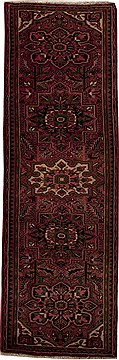 "Mussel Red Runner Hand Knotted 3'5"" X 10'5""  Area Rug 251-12786"