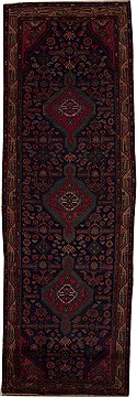 Persian Hossein Abad Blue Runner 10 to 12 ft Wool Carpet 12789