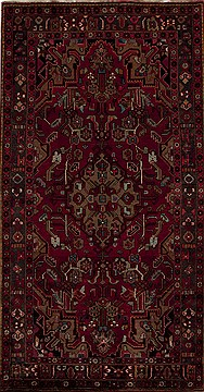 Persian Mussel Red Rectangle 6x9 ft Wool Carpet 12799